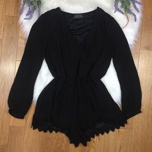 ASTR Lace Trim Black Romper Sheer Long Sleeve XS